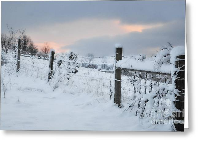 Snow Scenes Greeting Cards - Snowy Day Greeting Card by Kathy Jennings