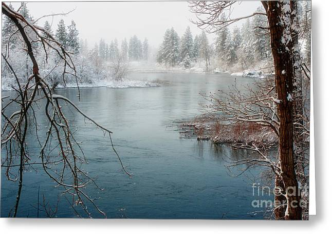 Spokane Greeting Cards - Snowy Day on the River Greeting Card by Reflective Moment Photography And Digital Art Images