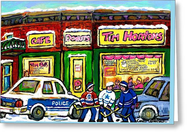 Hockey Paintings Greeting Cards - Snowy Day Original Canadian Hockey Art Paintings For Sale The Donut Shop Hot Coffee At Tim Hortons Greeting Card by Carole Spandau