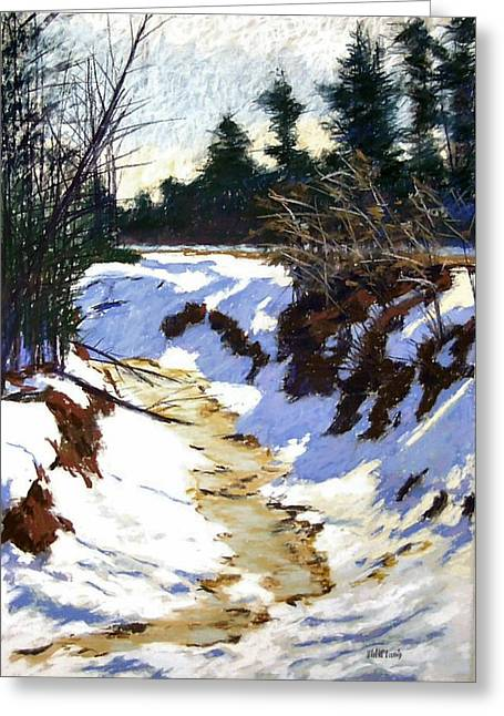 Snowscape Pastels Greeting Cards - Snowy Ditch Greeting Card by Mary McInnis