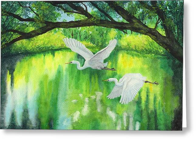 Flying Animal Greeting Cards - Snowy egrets skimming green water Greeting Card by Cristolin O