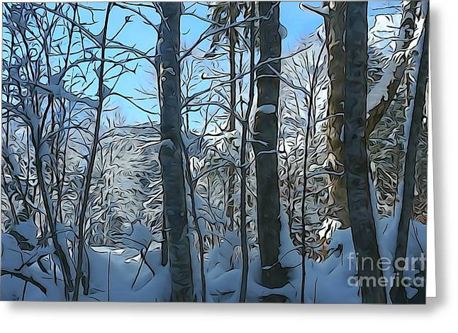 Salzburg Digital Greeting Cards - Snowy Forest Greeting Card by JR Photography