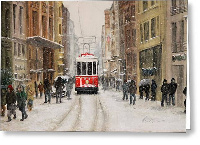 Snowy Istiklal Greeting Card by Rebecca Davis