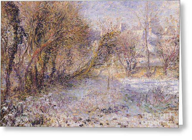 Snowy Landscape Greeting Card by Pierre Auguste Renoir