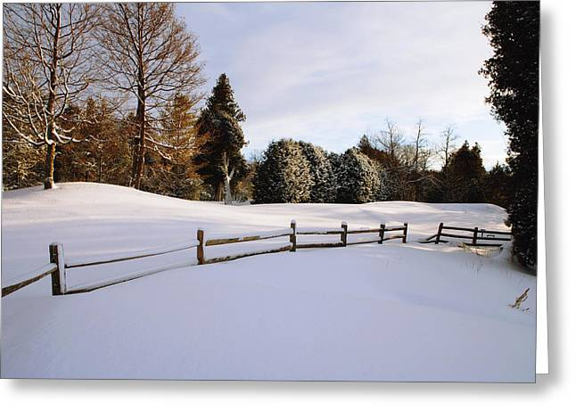 Winter Photos Greeting Cards - Snowy Landscape With Wooden Fence Greeting Card by Gillham Studios
