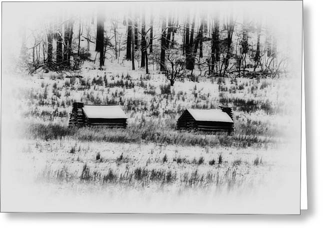 Log Cabins Greeting Cards - Snowy Log Cabins at Valley Forge Greeting Card by Bill Cannon