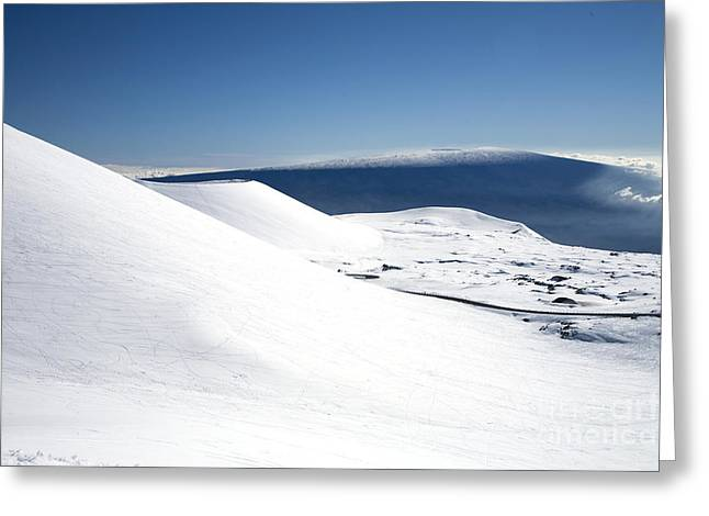 Loa Greeting Cards - Snowy Mauna Kea Greeting Card by Peter French - Printscapes