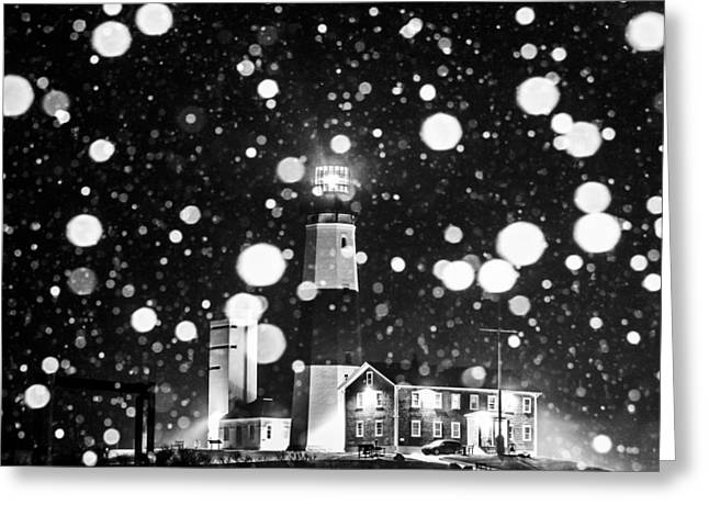 Blizzard Scenes Greeting Cards - Snowy Montauk Lighthouse BW Greeting Card by Ryan Moore