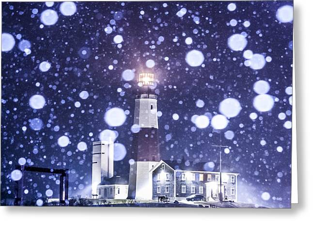 Blizzard New York Greeting Cards - Snowy Montauk Lighthouse Greeting Card by Ryan Moore