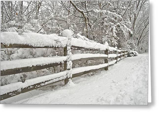 Fence Row Greeting Cards - Snowy Morning Greeting Card by Michael Peychich