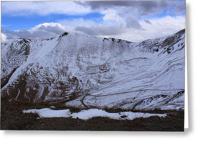 Snowy Mountain Greeting Card by Angie Wingerd