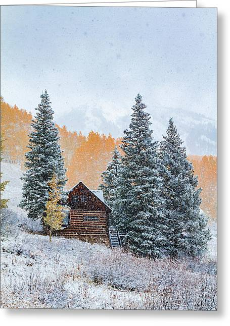 Snowy Mountain Cabin Greeting Card by Teri Virbickis