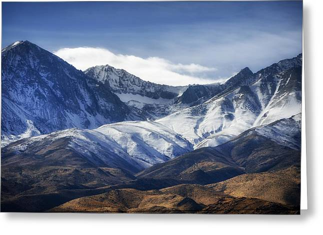 Snow-covered Landscape Greeting Cards - Snowy Mountains Of Northern California Greeting Card by Mountain Dreams