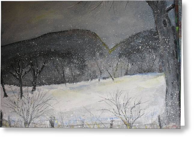 Snowy Day Mixed Media Greeting Cards - Snowy Mtn Yonah Greeting Card by Robert Reily