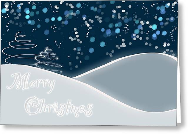 Snow Abstract Greeting Cards - Snowy Night Christmas Card Greeting Card by Lisa Knechtel