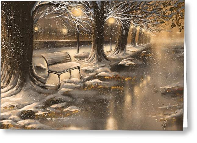 Snowy Night Night Greeting Cards - Snowy night Greeting Card by Veronica Minozzi