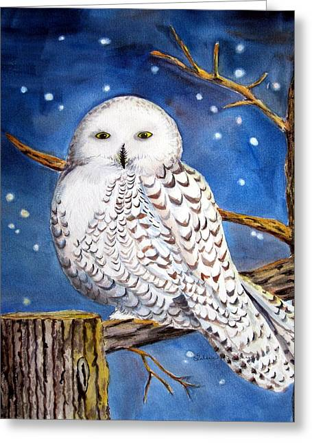 Snowy Night Night Greeting Cards - Snowy Owl Greeting Card by Eileen P Devery