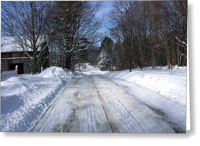 Western Ma Greeting Cards - Snowy Passage Greeting Card by Peter Williams