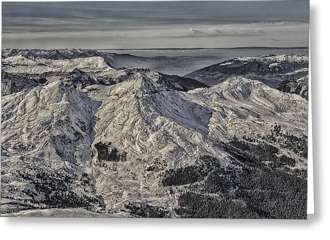 Swiss Photographs Greeting Cards - Snowy Paths Greeting Card by Liran Eisenberg