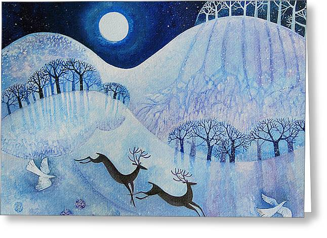Snowy Night Night Greeting Cards - Snowy Peace Greeting Card by Lisa Graa Jensen