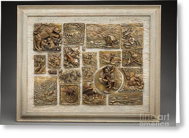 Ranch Reliefs Greeting Cards - Snowy Range Life - Large Relief Panel Greeting Card by Dawn Senior-Trask
