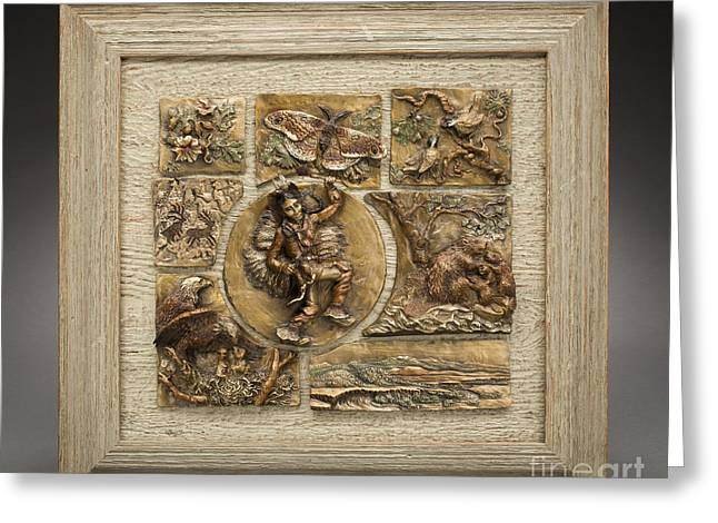 Buffalo Reliefs Greeting Cards - Snowy Range Life - Small Relief Panel Greeting Card by Dawn Senior-Trask