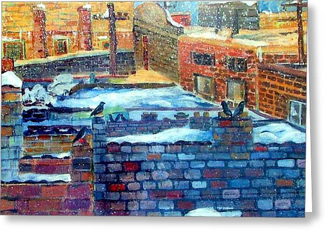 Snowy Roof Tops Greeting Card by Mindy Newman