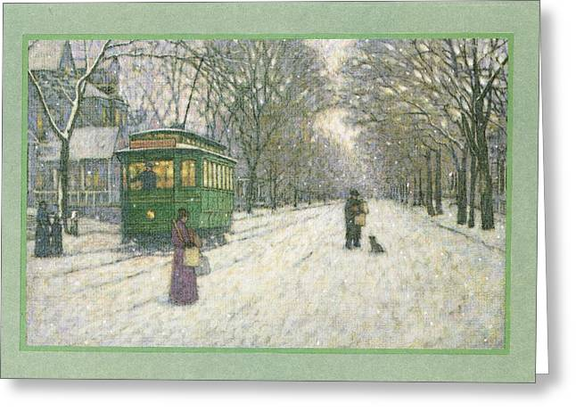 Snowy Roads Photographs Greeting Cards - Snowy Scene With Old Fashioned Greeting Card by Gillham Studios