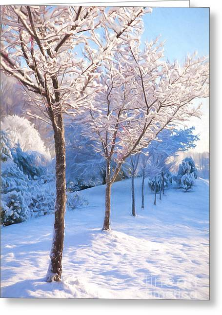 Winter Photos Paintings Greeting Cards - Snowy Stroll Greeting Card by Dan Carmichael