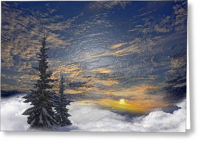Snowy Night Night Greeting Cards - Snowy Tree Greeting Card by Scott Mendell