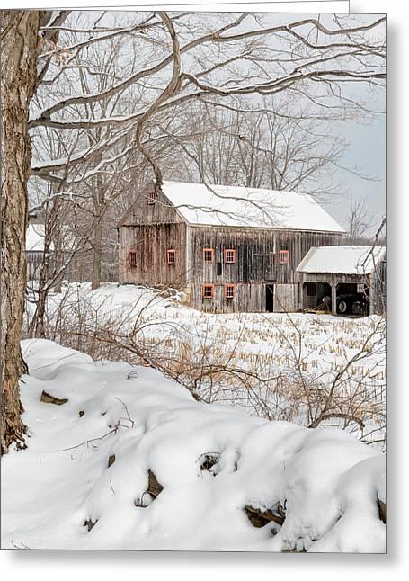 Snowy Vintage New England Barn Greeting Card by Bill Wakeley