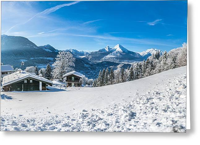 Swiss Photographs Greeting Cards - Snowy cottages in the Bavarian Alps in winter Greeting Card by JR Photography