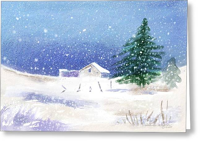 Snow Scenes Greeting Cards - Snowy Winter Scene Greeting Card by Arline Wagner