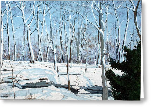 Wintry Greeting Cards - Snowy Wood Greeting Card by Jim Gerkin