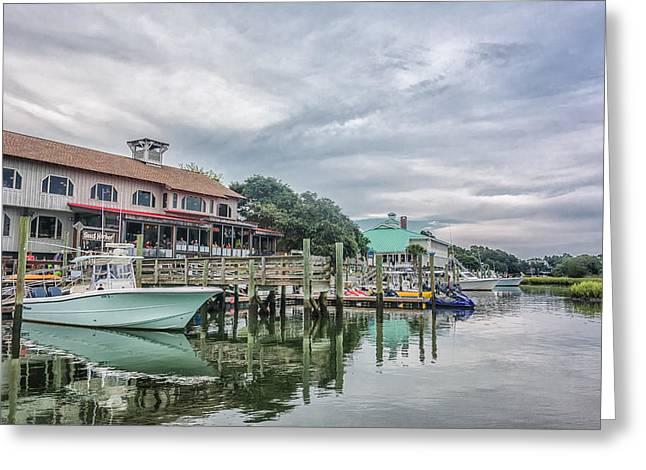 Fishing Boats Greeting Cards - Snug Harbor II Greeting Card by Christine Martin-Lizzul