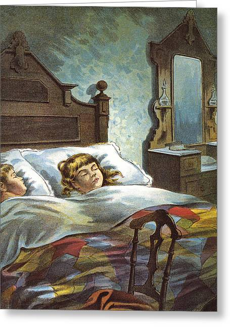 Snug In Their Bed On Christmas Eve Greeting Card by William Roger Snow