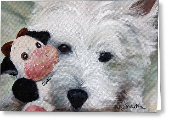 Westie Art Greeting Cards - Snuggling Up to Budda Greeting Card by Mary Sparrow