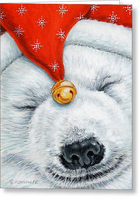 Jingle Greeting Cards - Snuggy Bear Greeting Card by Richard De Wolfe