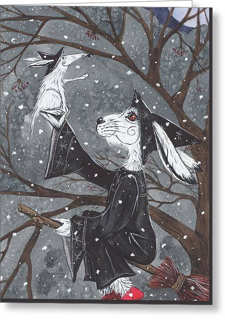 Snowy Night Night Greeting Cards - Snupple in the snow Greeting Card by Jacqueline Lovesey