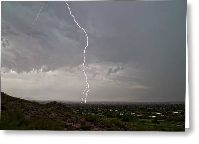 Scottsdale Lightning Photographs Greeting Cards - So Close Greeting Card by Cathy Franklin