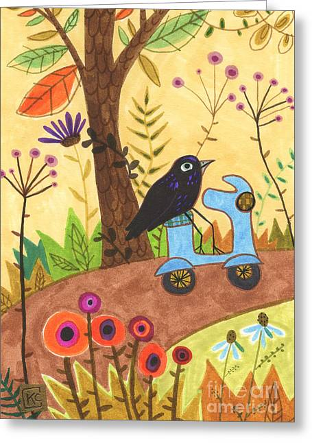 Baby Bird Drawings Greeting Cards - So Raven Greeting Card by Kate Cosgrove