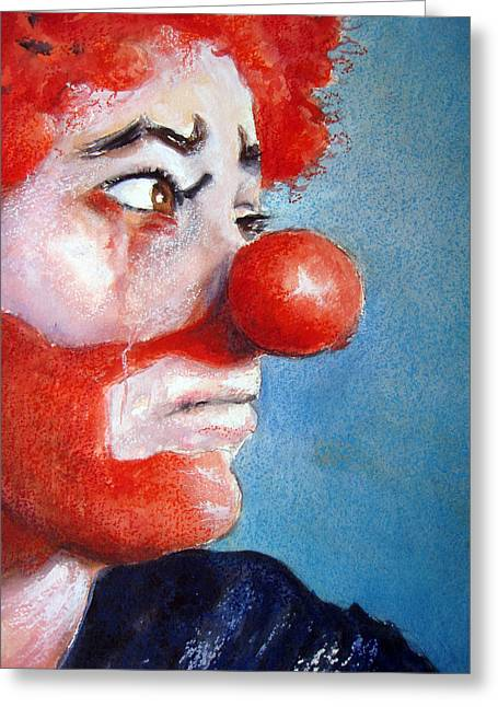 Clown Greeting Cards - So Sad Greeting Card by Myra Evans