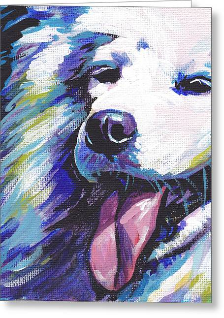Dog Portraits Greeting Cards - So Sammy Greeting Card by Lea