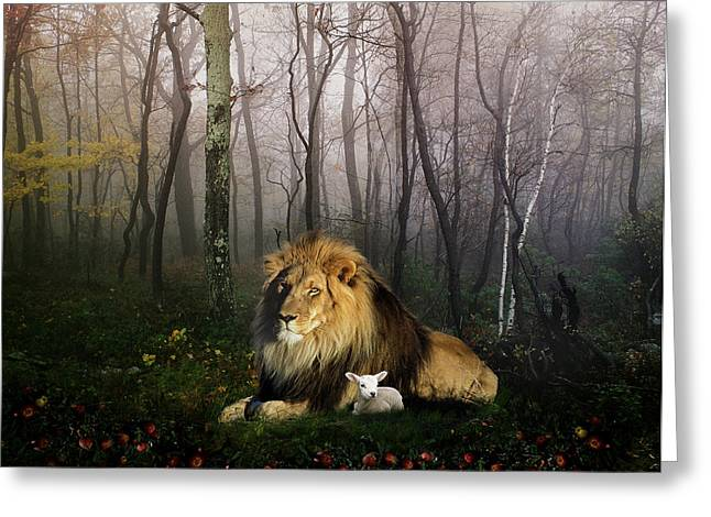 Forest Animals Greeting Cards - So the Lion Fell in Love with the Lamb Greeting Card by Julie L Hoddinott