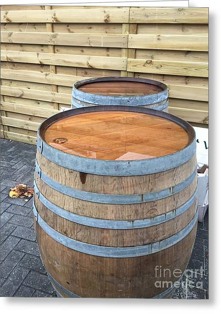 Soaked Barrels Greeting Card by Evan N