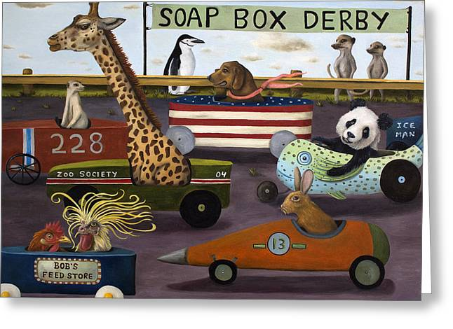 Soap Greeting Cards - Soap Box Derby Greeting Card by Leah Saulnier The Painting Maniac