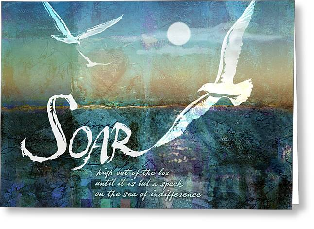 Flying Seagull Digital Art Greeting Cards - Soar Greeting Card by Evie Cook