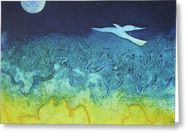 Mystical Landscape Mixed Media Greeting Cards - Soaring Into The Blue Greeting Card by Susanne Clark