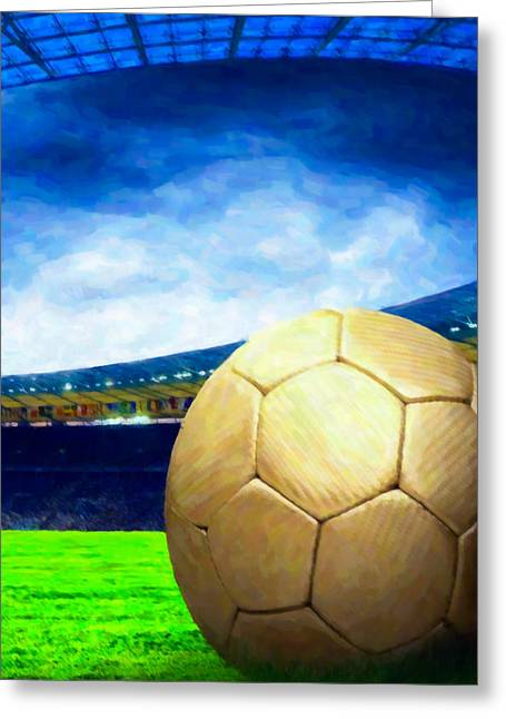 Stadium Design Paintings Greeting Cards - Soccer ball on green field 1 Greeting Card by Lanjee Chee