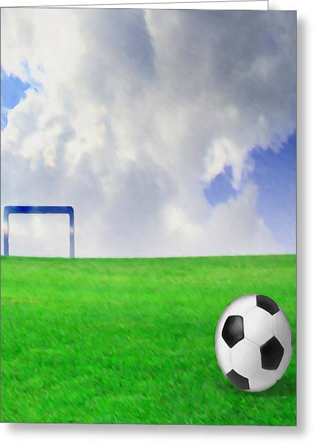 Stadium Design Paintings Greeting Cards - Soccer ball on the green field Greeting Card by Lanjee Chee